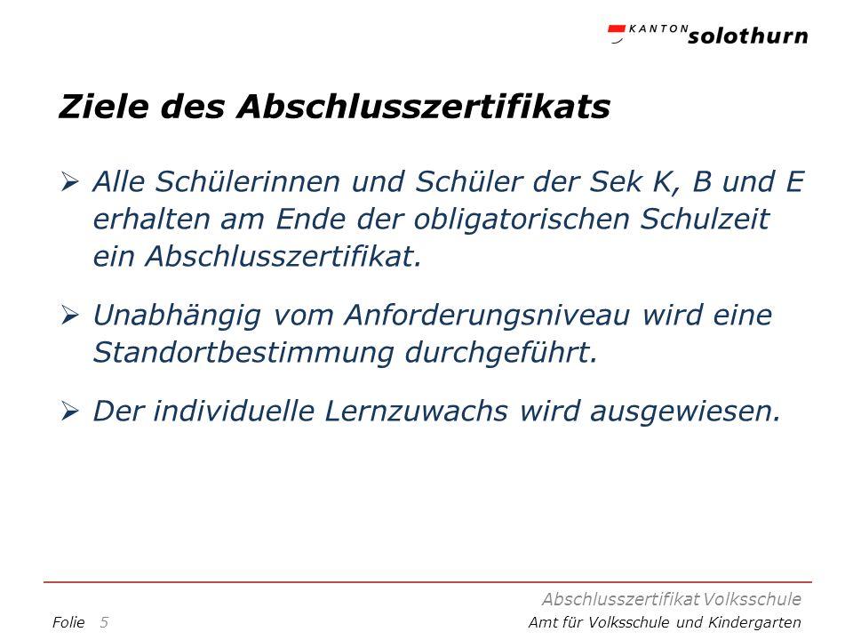 FolieAmt für Volksschule und Kindergarten Ziele des Abschlusszertifikats Längerfristiges und selbständiges Arbeiten wird ausgewiesen.