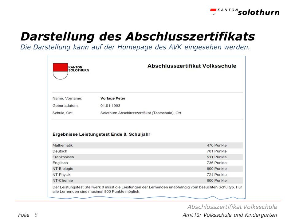 FolieAmt für Volksschule und Kindergarten Darstellung des Abschlusszertifikats Die Darstellung kann auf der Homepage des AVK eingesehen werden.