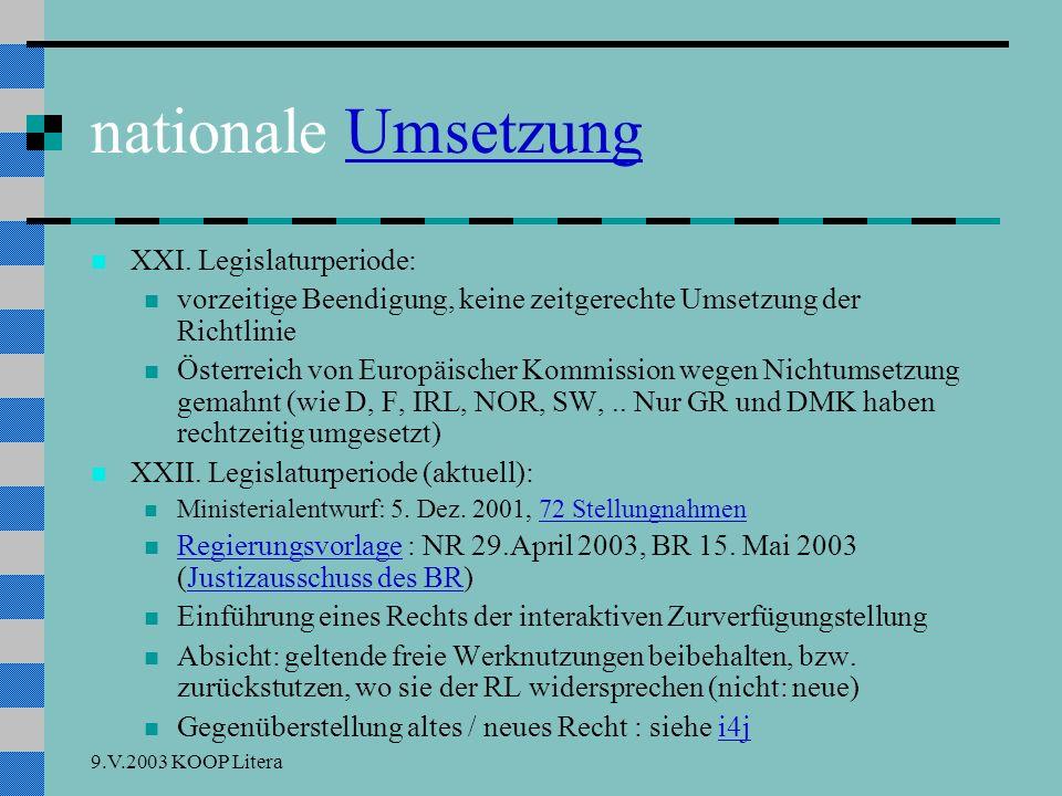 9.V.2003 KOOP Litera nationale UmsetzungUmsetzung XXI.