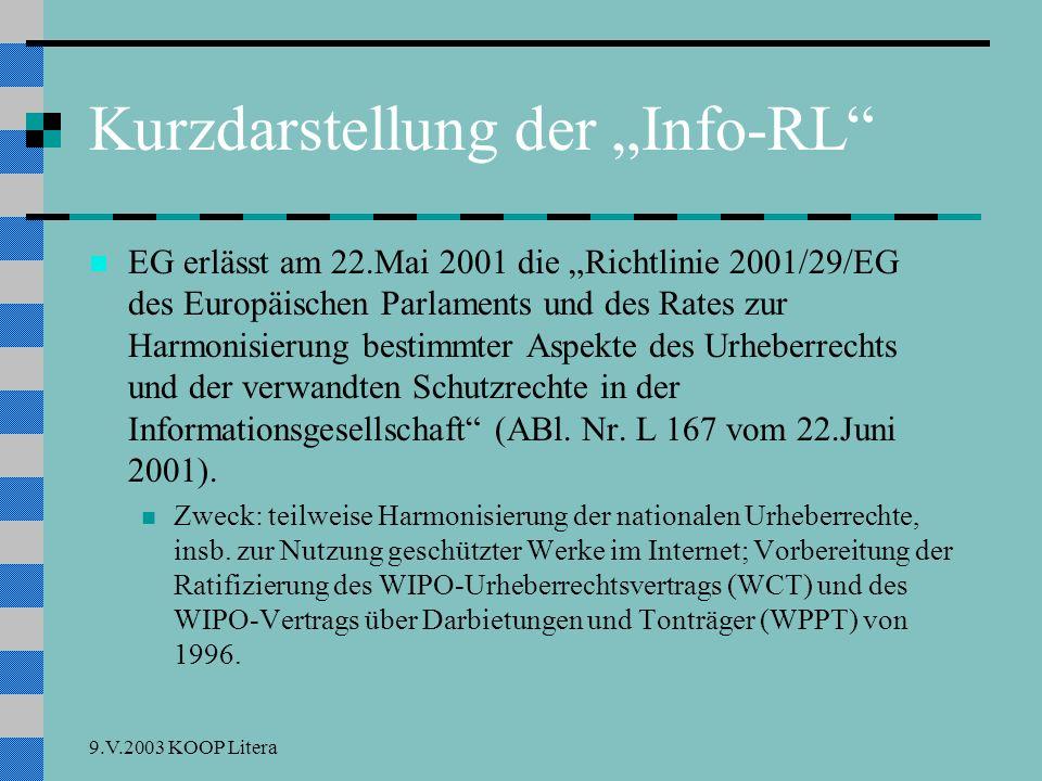 9.V.2003 KOOP Litera Freie Werknutzung: § 42 UrhRG UrhRG, § 42 Abs.7 Z.2: Erweiterung unter Berufung auf Art.5/3 lit a von veröffentlichten, aber nicht erschienenen oder vergriffenen Werken einzelne Vervielfältigungsstücke; solange das Werk nicht erschienen bzw.