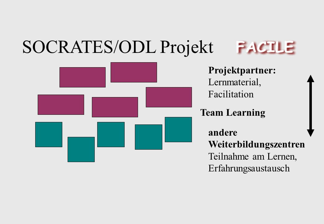 SOCRATES/ODL Projekt Projektpartner: Lernmaterial, Facilitation Team Learning andere Weiterbildungszentren Teilnahme am Lernen, Erfahrungsaustausch