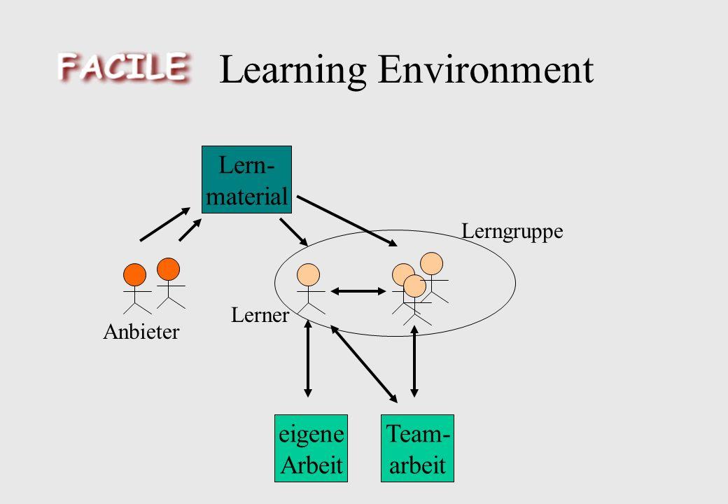 Learning Environment eigene Arbeit Team- arbeit Lern- material Lerner Anbieter Lerngruppe