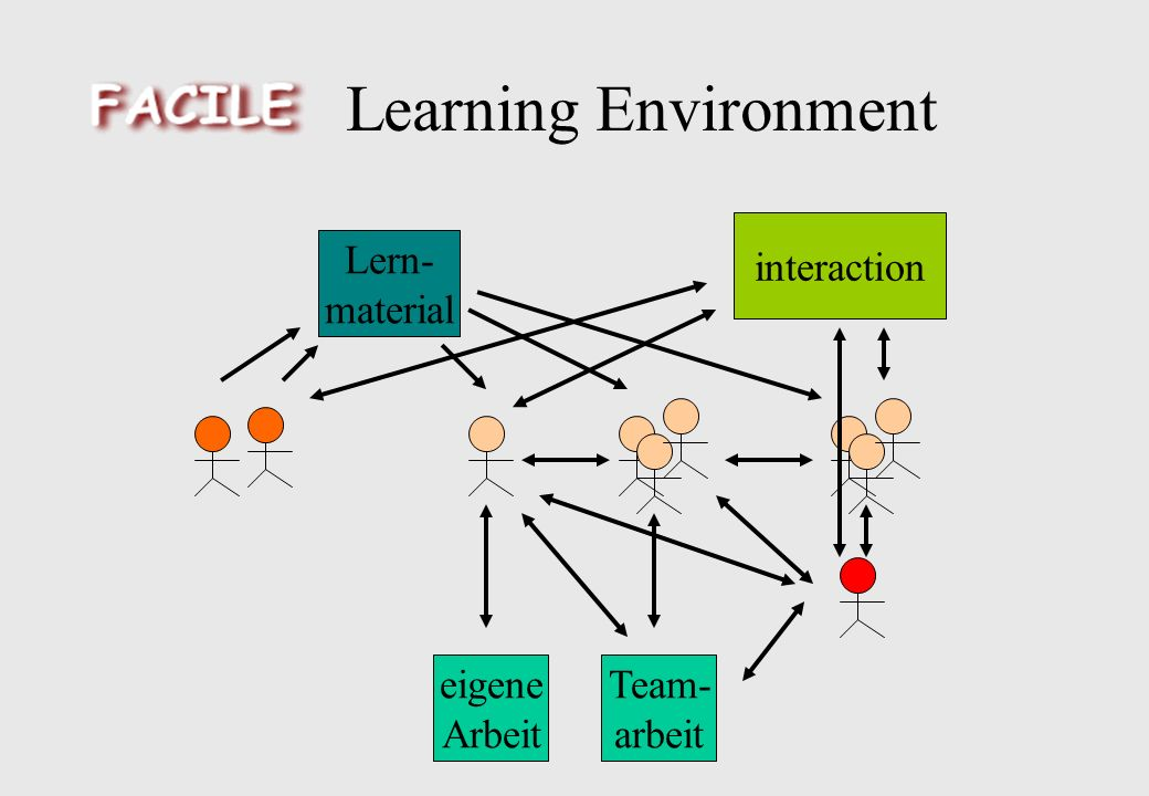 Learning Environment eigene Arbeit Team- arbeit Lern- material interaction
