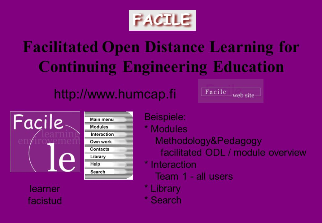 Facilitated Open Distance Learning for Continuing Engineering Education http://www.humcap.fi learner facistud Beispiele: * Modules Methodology&Pedagogy facilitated ODL / module overview * Interaction Team 1 - all users * Library * Search