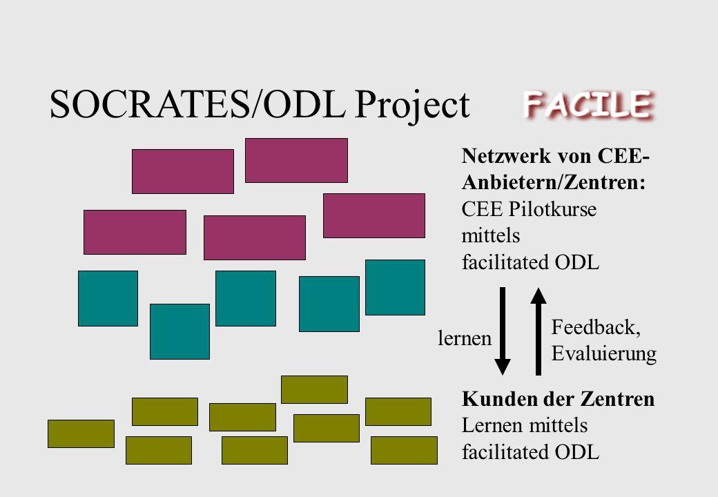 SOCRATES/ODL Project Netzwerk von CEE- Anbietern/Zentren: CEE Pilotkurse mittels facilitated ODL Kunden der Zentren Lernen mittels facilitated ODL lernen Feedback, Evaluierung