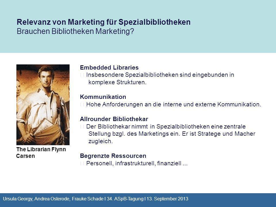 Relevanz von Marketing für Spezialbibliotheken Brauchen Bibliotheken Marketing? Embedded Libraries Insbesondere Spezialbibliotheken sind eingebunden i
