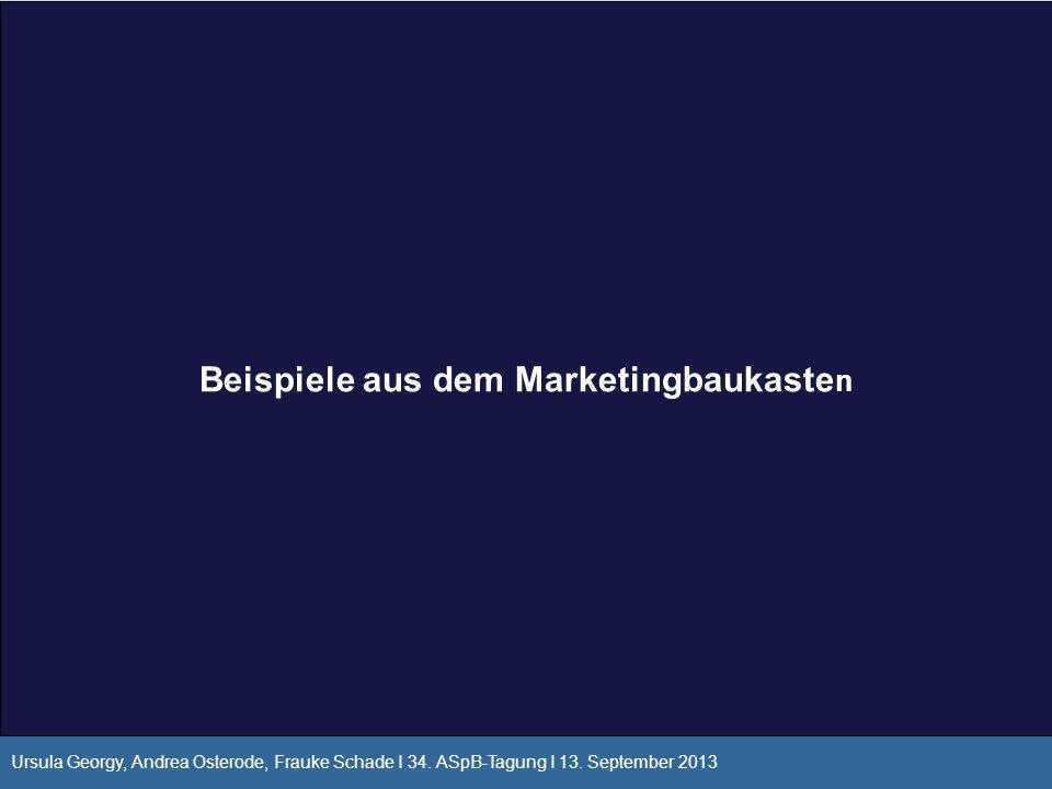 Beispiele aus dem Marketingbaukaste n Ursula Georgy, Andrea Osterode, Frauke Schade I 34. ASpB-Tagung I 13. September 2013