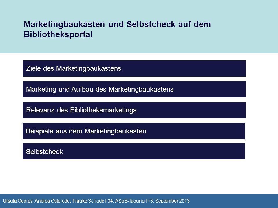 Ursula Georgy, Andrea Osterode, Frauke Schade I 34. ASpB-Tagung I 13. September 2013 Marketingbaukasten und Selbstcheck auf dem Bibliotheksportal Ziel
