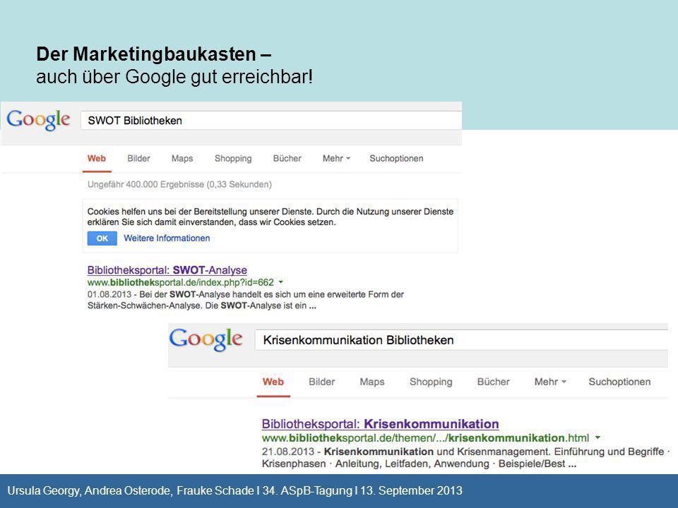 Der Marketingbaukasten – auch über Google gut erreichbar! Ursula Georgy, Andrea Osterode, Frauke Schade I 34. ASpB-Tagung I 13. September 2013