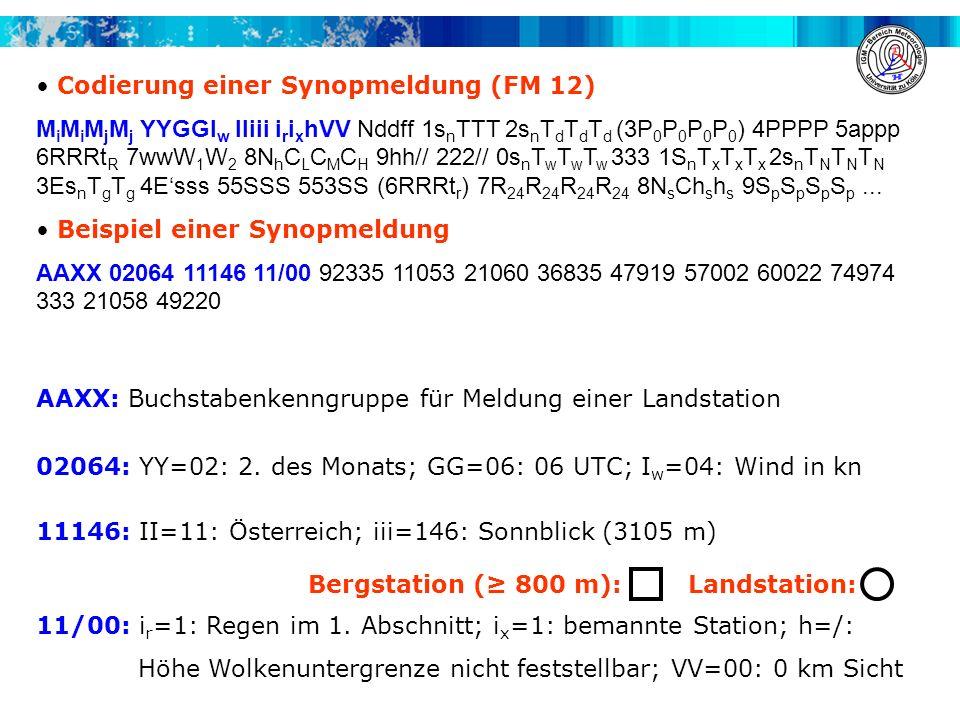 Codierung einer Synopmeldung (FM 12) M i M i M j M j YYGGI w IIiii i r i x hVV Nddff 1s n TTT 2s n T d T d T d (3P 0 P 0 P 0 P 0 ) 4PPPP 5appp 6RRRt R 7wwW 1 W 2 8N h C L C M C H 9hh// 222// 0s n T w T w T w 333 1S n T x T x T x 2s n T N T N T N 3Es n T g T g 4Esss 55SSS 553SS (6RRRt r ) 7R 24 R 24 R 24 R 24 8N s Ch s h s 9S p S p S p S p...