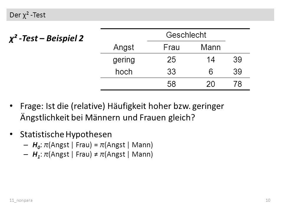 Der χ² -Test 11_nonpara10 χ² -Test – Beispiel 2 Frage: Ist die (relative) Häufigkeit hoher bzw. geringer Ängstlichkeit bei Männern und Frauen gleich?
