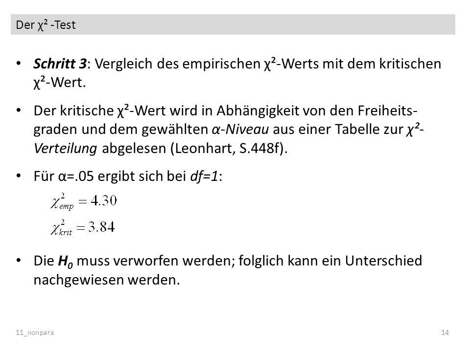 Der χ² -Test 11_nonpara14 Schritt 3: Vergleich des empirischen χ²-Werts mit dem kritischen χ²-Wert. Der kritische χ²-Wert wird in Abhängigkeit von den