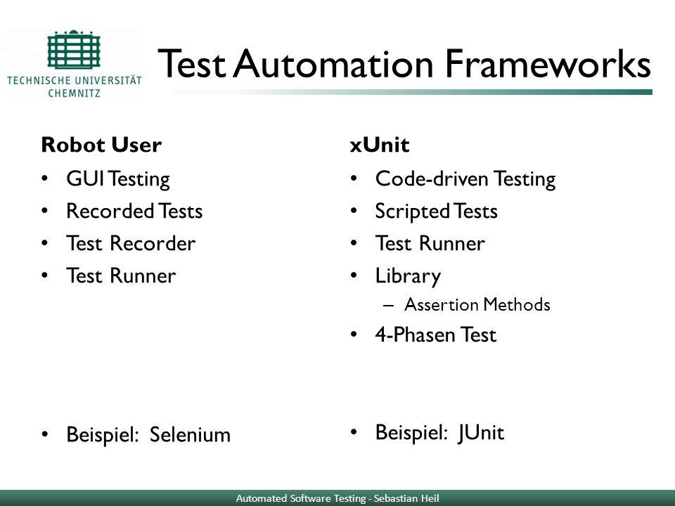 Test Automation Frameworks Robot User GUI Testing Recorded Tests Test Recorder Test Runner xUnit Code-driven Testing Scripted Tests Test Runner Librar