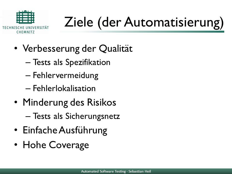 Ziele (der Automatisierung) Verbesserung der Qualität – Tests als Spezifikation – Fehlervermeidung – Fehlerlokalisation Minderung des Risikos – Tests