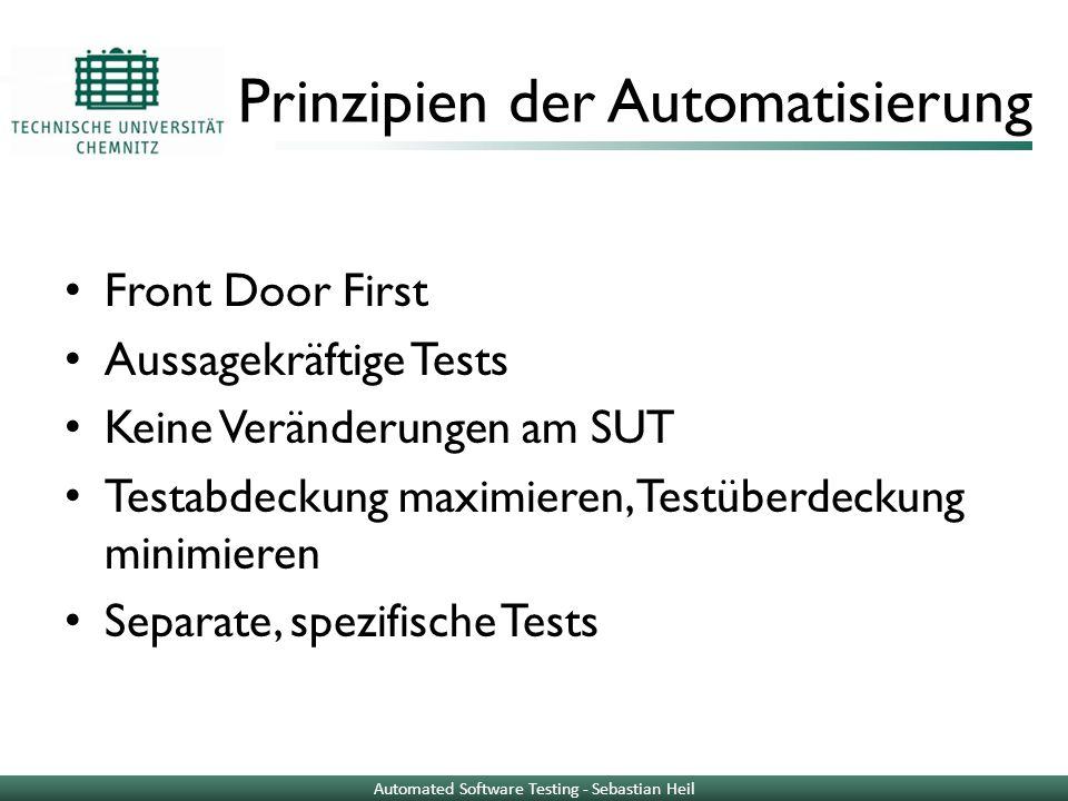 Unit Testing Unit: kleines Stück isolierter Quellcode, meist Klasse Unit Test: Quellcode, ruft zu testende Unit auf Überprüfung von Annahmen Vergleich von Ist- und Sollergebnis Getestet wird logischer Code Automated Software Testing - Sebastian Heil
