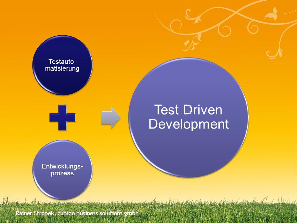 Testauto- matisierung Entwicklungs- prozess Test Driven Development