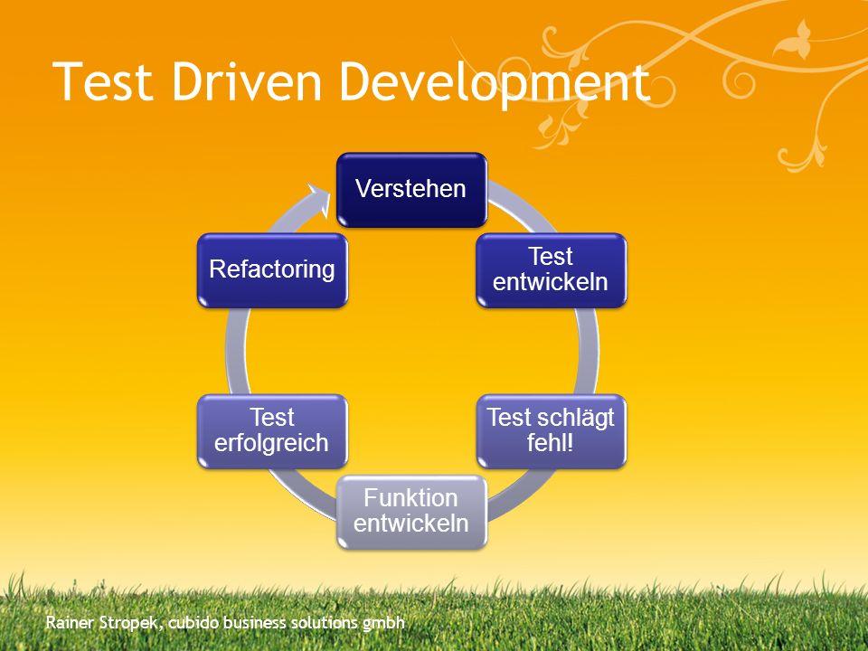 Rainer Stropek, cubido business solutions gmbh Verstehen Test entwickeln Test schlägt fehl! Funktion entwickeln Test erfolgreich Refactoring