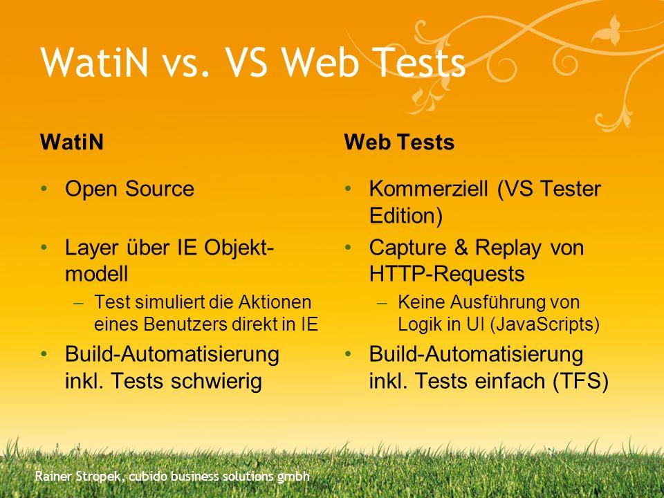WatiN vs. VS Web Tests WatiN Open Source Layer über IE Objekt- modell –Test simuliert die Aktionen eines Benutzers direkt in IE Build-Automatisierung