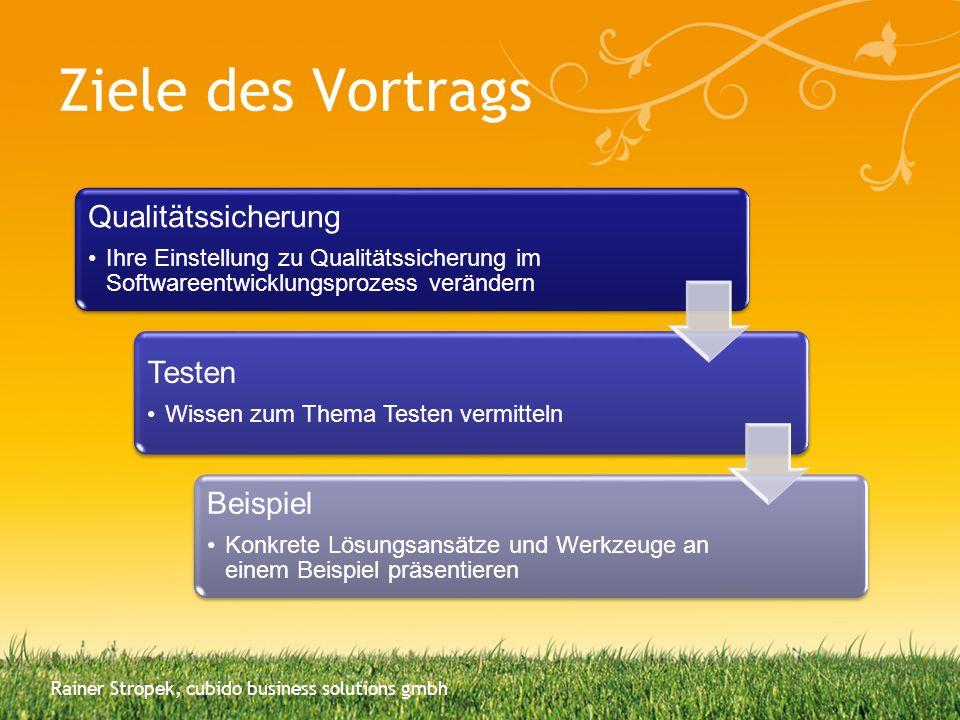 Ziele des Vortrags Qualitätssicherung Ihre Einstellung zu Qualitätssicherung im Softwareentwicklungsprozess verändern Testen Wissen zum Thema Testen v