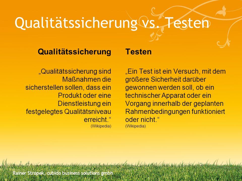 Qualitätssicherung vs. Testen Qualitätssicherung Qualitätssicherung sind Maßnahmen die sicherstellen sollen, dass ein Produkt oder eine Dienstleistung