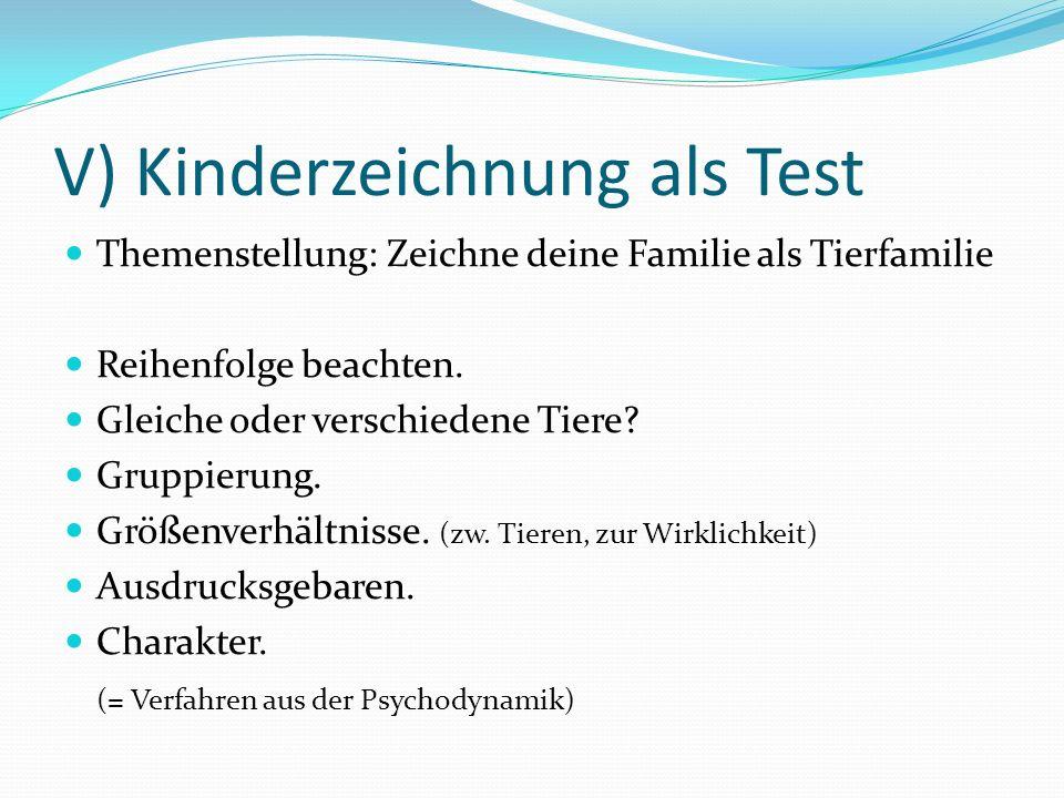 V) Kinderzeichnung als Test Themenstellung: Zeichne deine Familie als Tierfamilie Reihenfolge beachten. Gleiche oder verschiedene Tiere? Gruppierung.