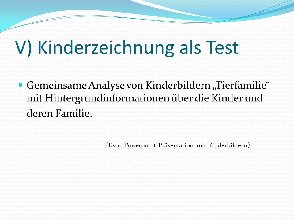 V) Kinderzeichnung als Test Gemeinsame Analyse von Kinderbildern Tierfamilie mit Hintergrundinformationen über die Kinder und deren Familie. (Extra Po