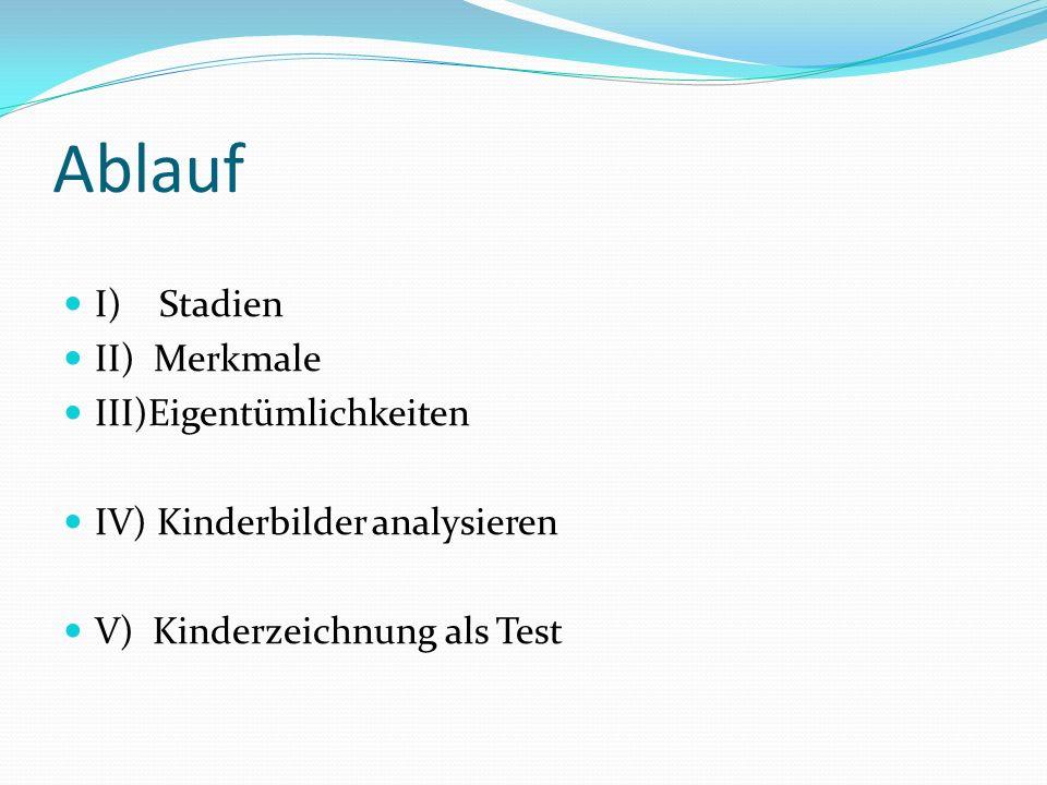 Ablauf I) Stadien II) Merkmale III)Eigentümlichkeiten IV) Kinderbilder analysieren V) Kinderzeichnung als Test
