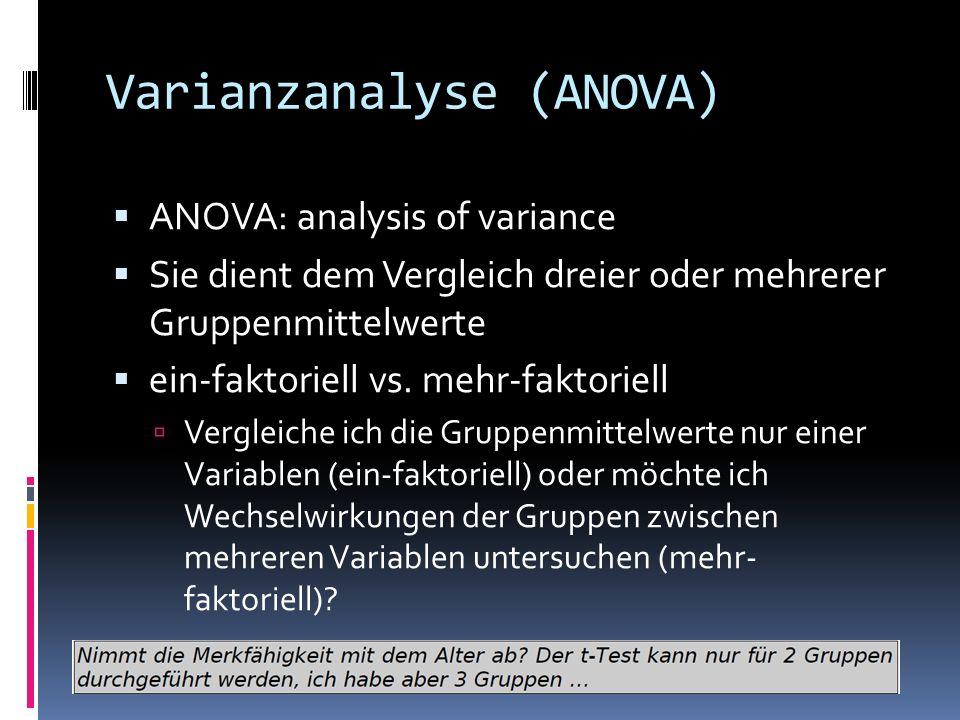 Varianzanalyse (ANOVA) ANOVA: analysis of variance Sie dient dem Vergleich dreier oder mehrerer Gruppenmittelwerte ein-faktoriell vs. mehr-faktoriell