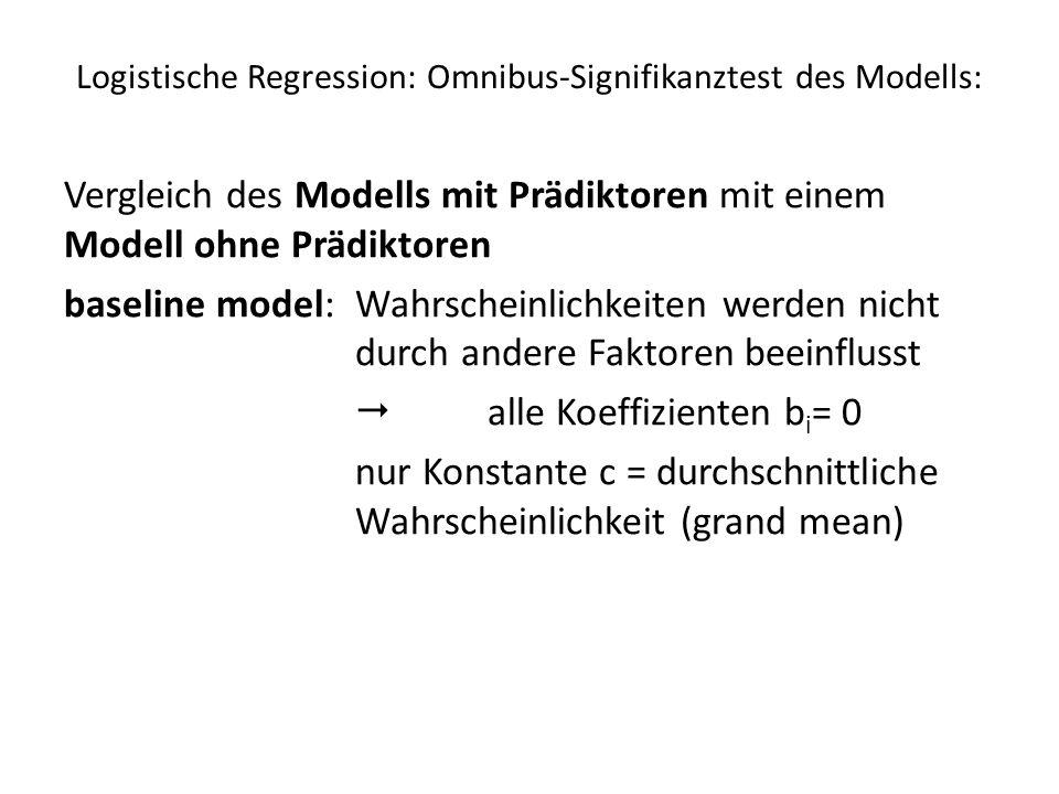 Logistische Regression: Omnibus-Signifikanztest des Modells: Vergleich des Modells mit Prädiktoren mit einem Modell ohne Prädiktoren baseline model: W