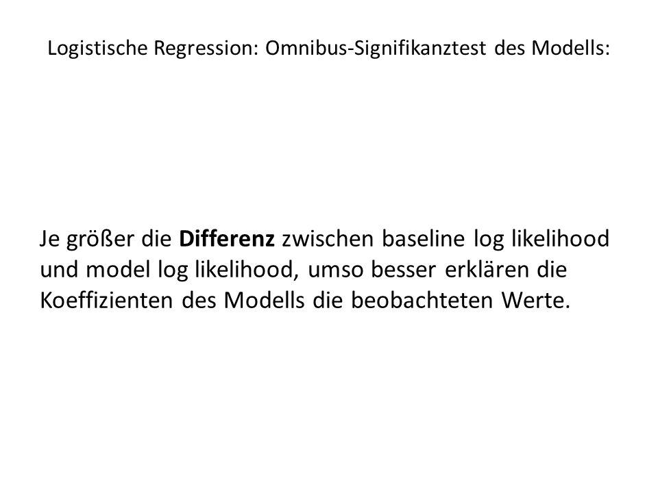 Logistische Regression: Omnibus-Signifikanztest des Modells: Je größer die Differenz zwischen baseline log likelihood und model log likelihood, umso b