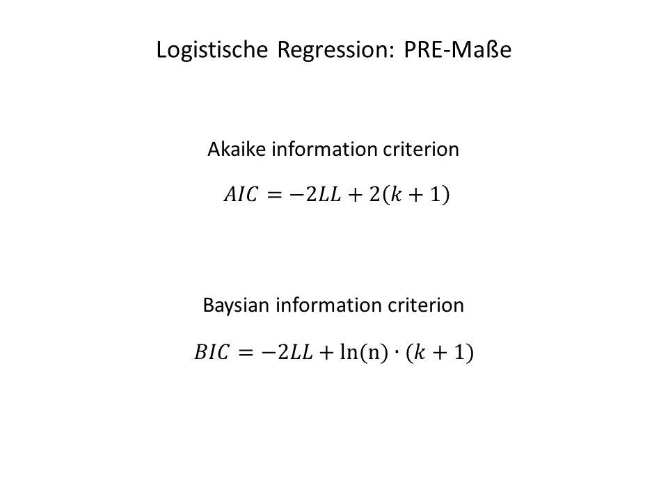 Logistische Regression: PRE-Maße Akaike information criterion Baysian information criterion