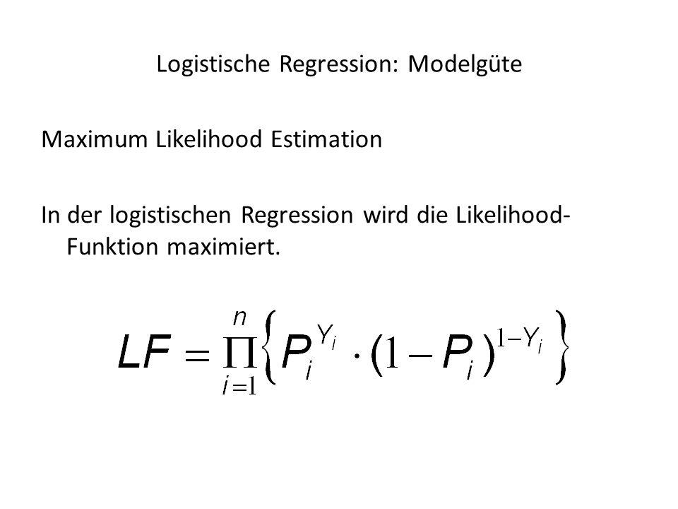 Maximum Likelihood Estimation In der logistischen Regression wird die Likelihood- Funktion maximiert. Logistische Regression: Modelgüte