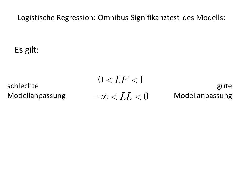 Logistische Regression – Bilanz OLS-RegressionLogistische Regression Konstante c Regressionskoeffizient b F-Wert (F-Test)-2LL-Differenz (χ²-Test) Sums of Squares-2LLs bzw.