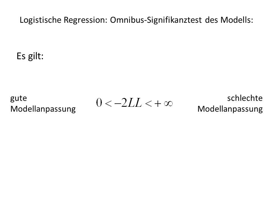 Logistische Regression: Omnibus-Signifikanztest des Modells: Vergleich des Modells mit Prädiktoren mit einem Modell ohne Prädiktoren baseline model: Wahrscheinlichkeiten werden nicht durch andere Faktoren beeinflusst alle Koeffizienten b i = 0 nur Konstante c = durchschnittliche Wahrscheinlichkeit (grand mean)