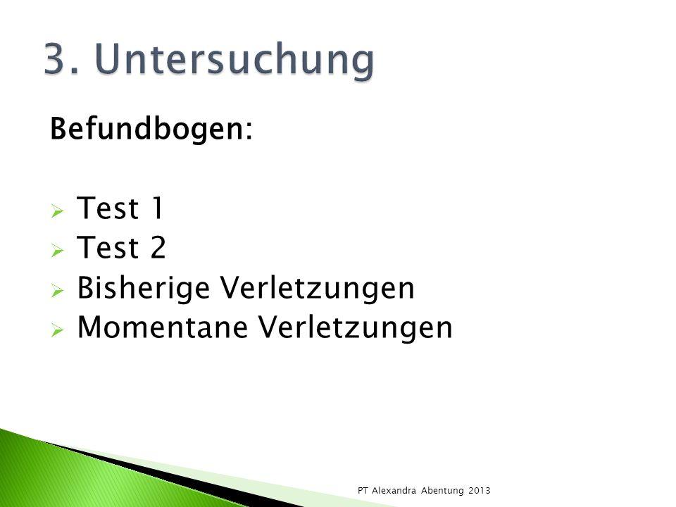 Befundbogen: Test 1 Test 2 Bisherige Verletzungen Momentane Verletzungen PT Alexandra Abentung 2013
