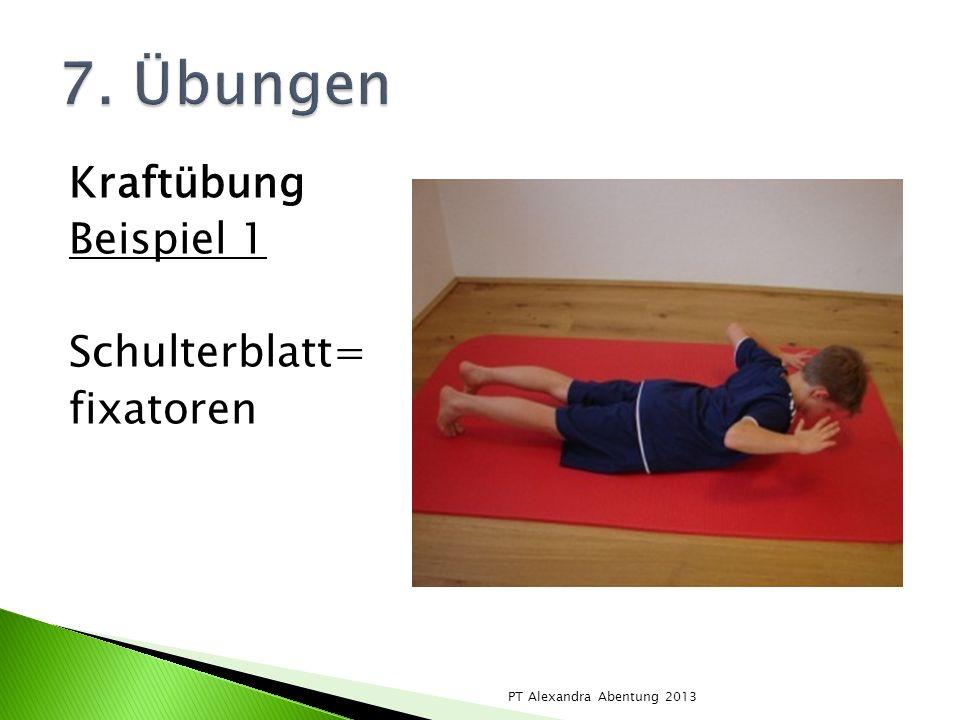 Kraftübung Beispiel 1 Schulterblatt= fixatoren PT Alexandra Abentung 2013