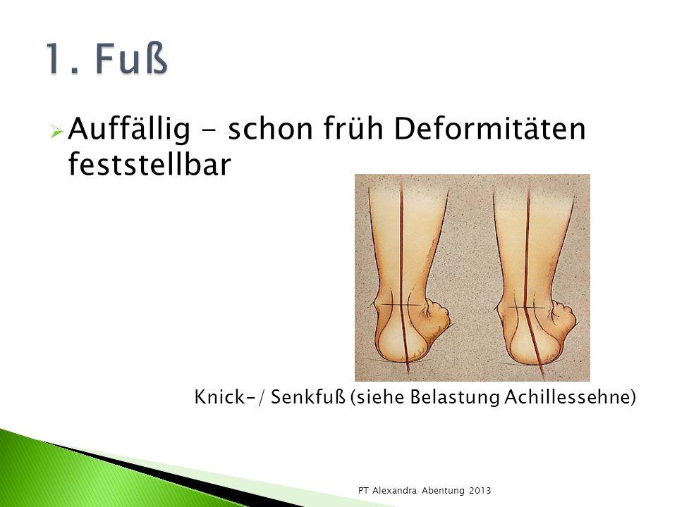 Auffällig - schon früh Deformitäten feststellbar Knick-/ Senkfuß (siehe Belastung Achillessehne) PT Alexandra Abentung 2013