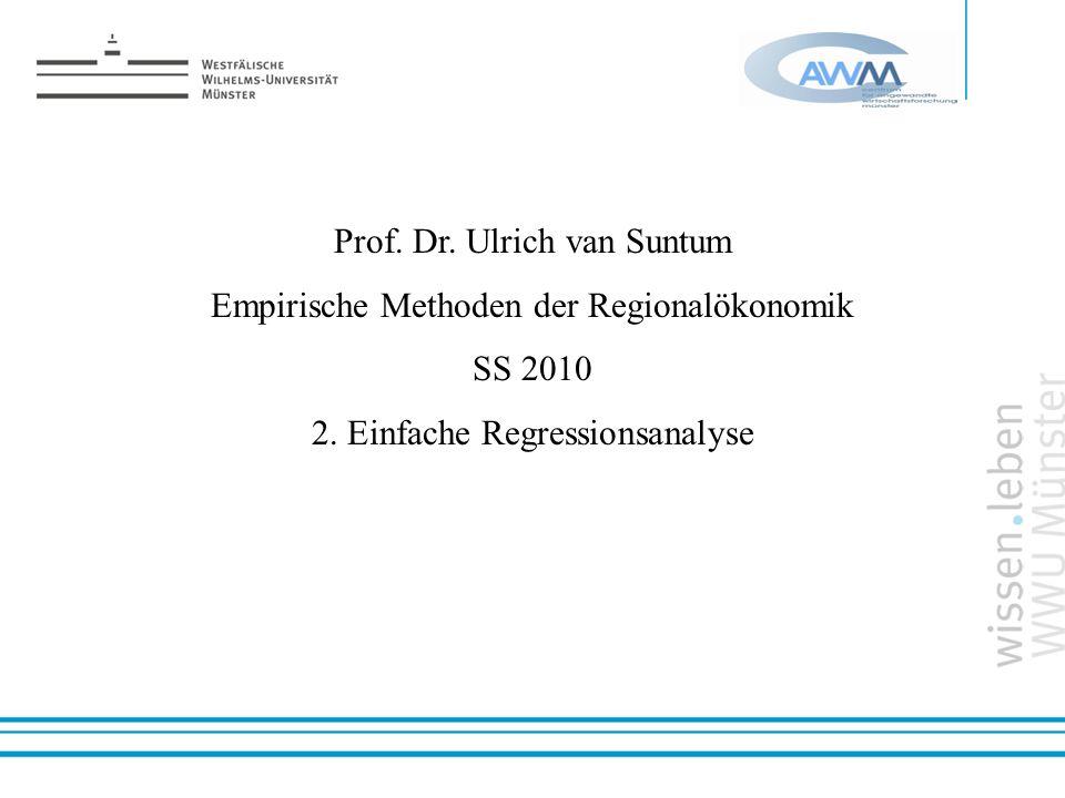 Prof. Dr. Ulrich van Suntum Empirische Methoden der Regionalökonomik SS 2010 2. Einfache Regressionsanalyse