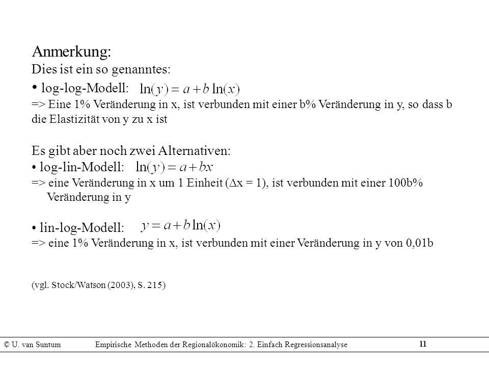 11 Anmerkung: Dies ist ein so genanntes: log-log-Modell: => Eine 1% Veränderung in x, ist verbunden mit einer b% Veränderung in y, so dass b die Elast