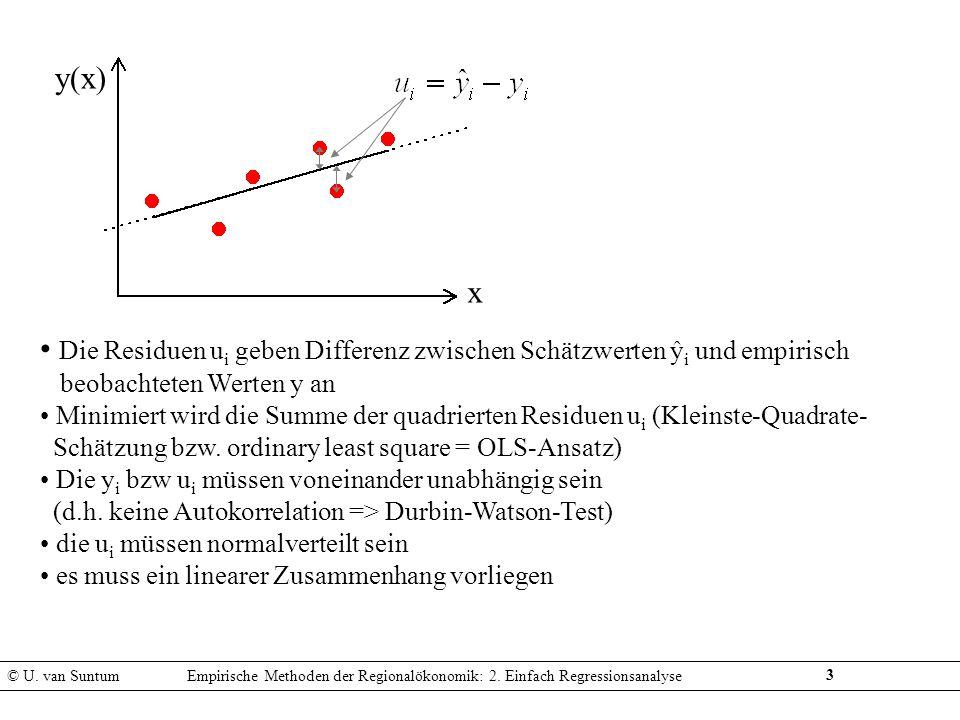 4 Bestimmtheitsmaß R 2 (in Einfachregressionen): Quadrat des Pearson´schen Korrelationskoeffizienten R gibt an, inwieweit die Varianz von y durch die Varianz von x erklärbar liegt zwischen 0 und 1 (=100%) Definition: Kritik an R 2 : sagt nichts über Signifikanz (Zusammenhang kann zufällig sein) ist problematisch bei zeitabhängigen Variablen (Trends) steigt tendenziell mit Anzahl der Stichprobenwerte © U.
