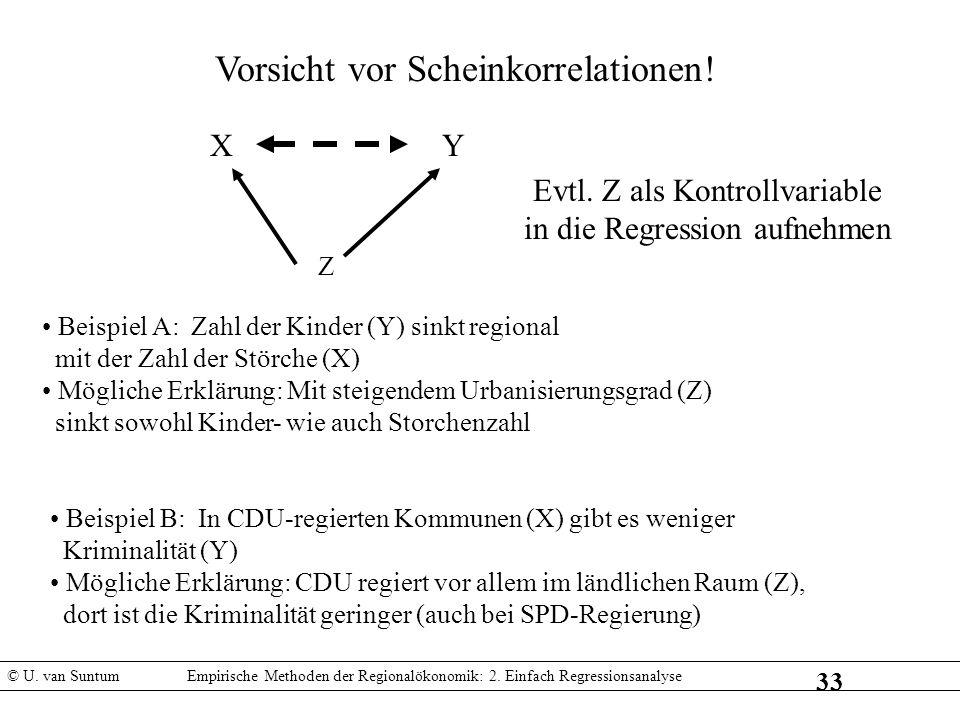 33 Vorsicht vor Scheinkorrelationen! XY Z Beispiel A: Zahl der Kinder (Y) sinkt regional mit der Zahl der Störche (X) Mögliche Erklärung: Mit steigend