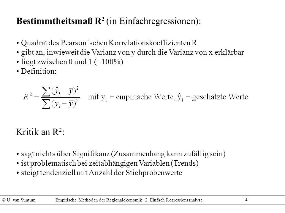 4 Bestimmtheitsmaß R 2 (in Einfachregressionen): Quadrat des Pearson´schen Korrelationskoeffizienten R gibt an, inwieweit die Varianz von y durch die