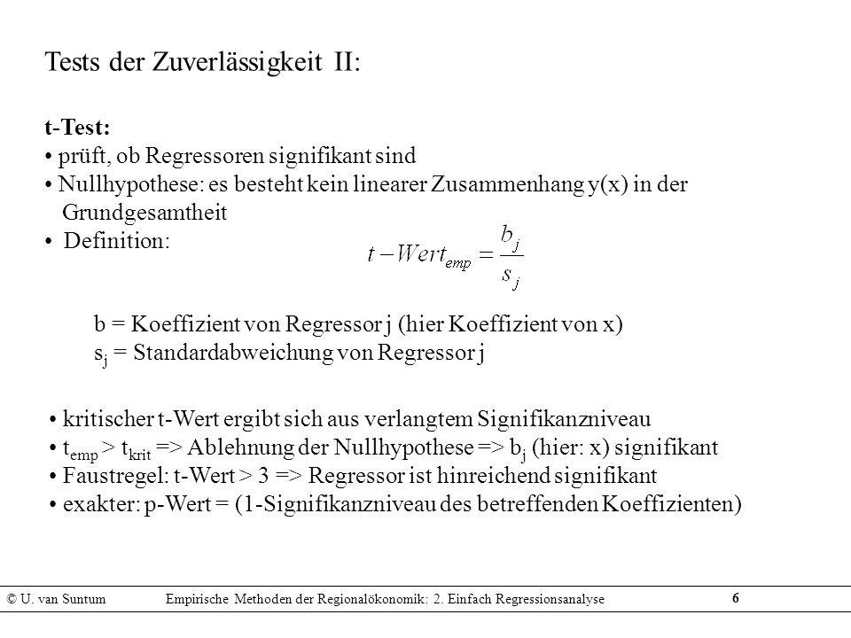 6 Tests der Zuverlässigkeit II: t-Test: prüft, ob Regressoren signifikant sind Nullhypothese: es besteht kein linearer Zusammenhang y(x) in der Grundg