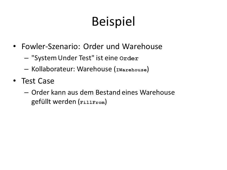 Beispiel Fowler-Szenario: Order und Warehouse – System Under Test ist eine Order – Kollaborateur: Warehouse ( IWarehouse ) Test Case – Order kann aus dem Bestand eines Warehouse gefüllt werden ( FillFrom )