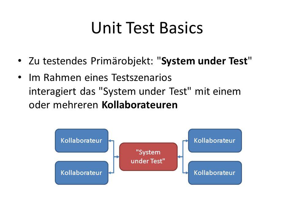 Unit Test Basics Zu testendes Primärobjekt: System under Test Im Rahmen eines Testszenarios interagiert das System under Test mit einem oder mehreren Kollaborateuren System under Test Kollaborateur
