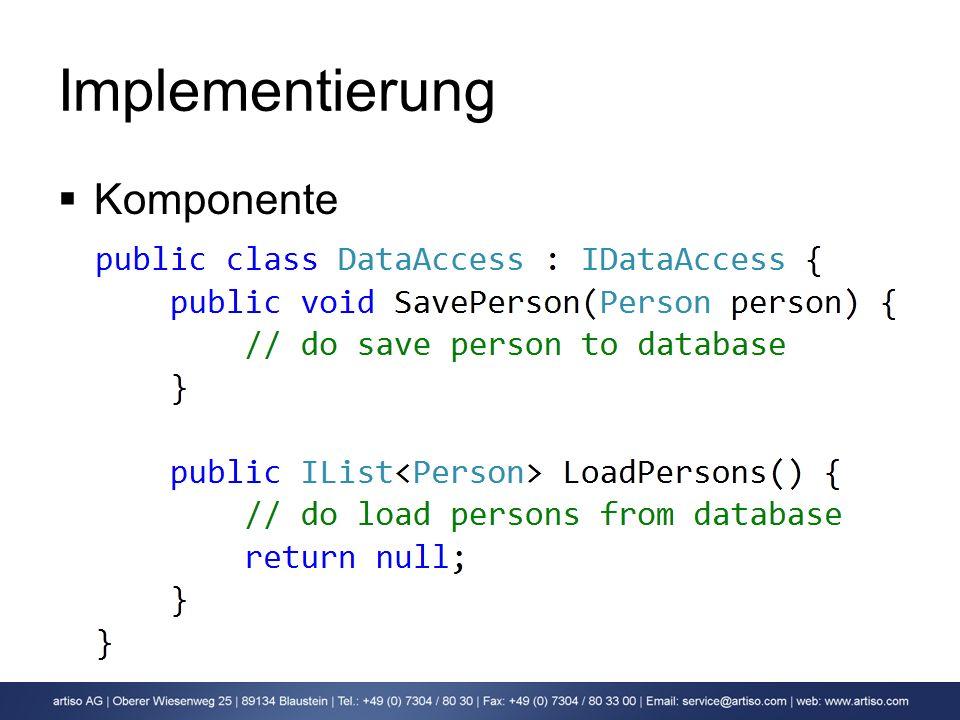 Implementierung Komponente