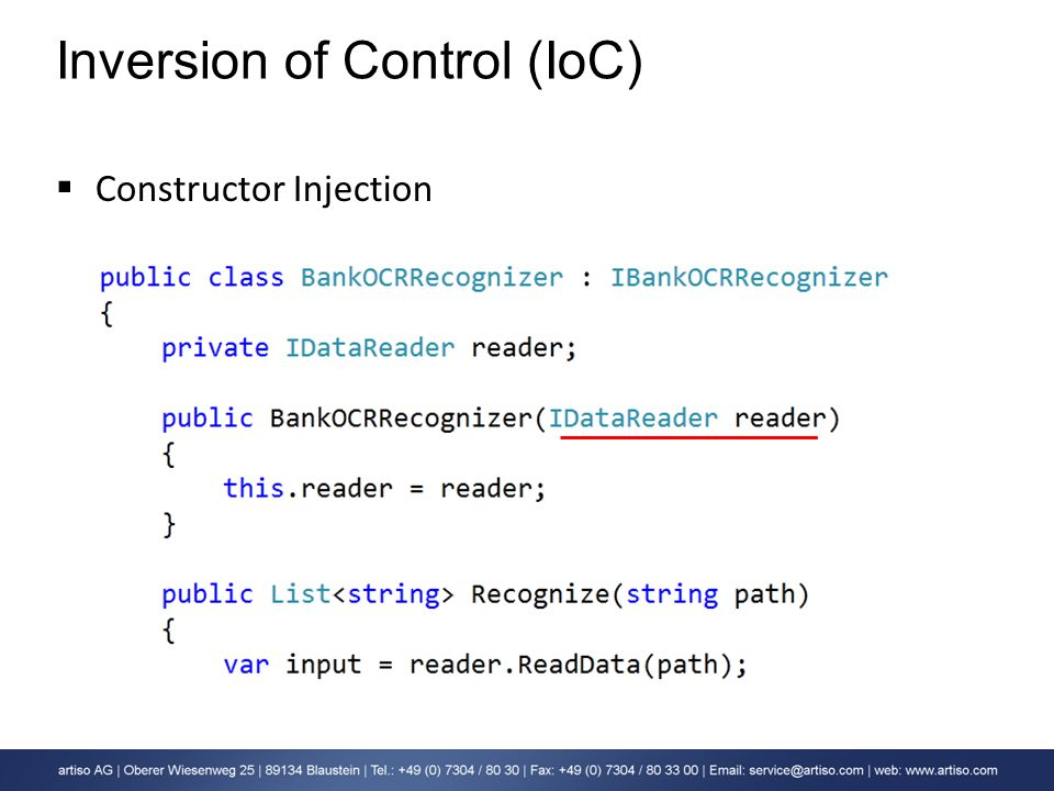Inversion of Control (IoC) Constructor Injection
