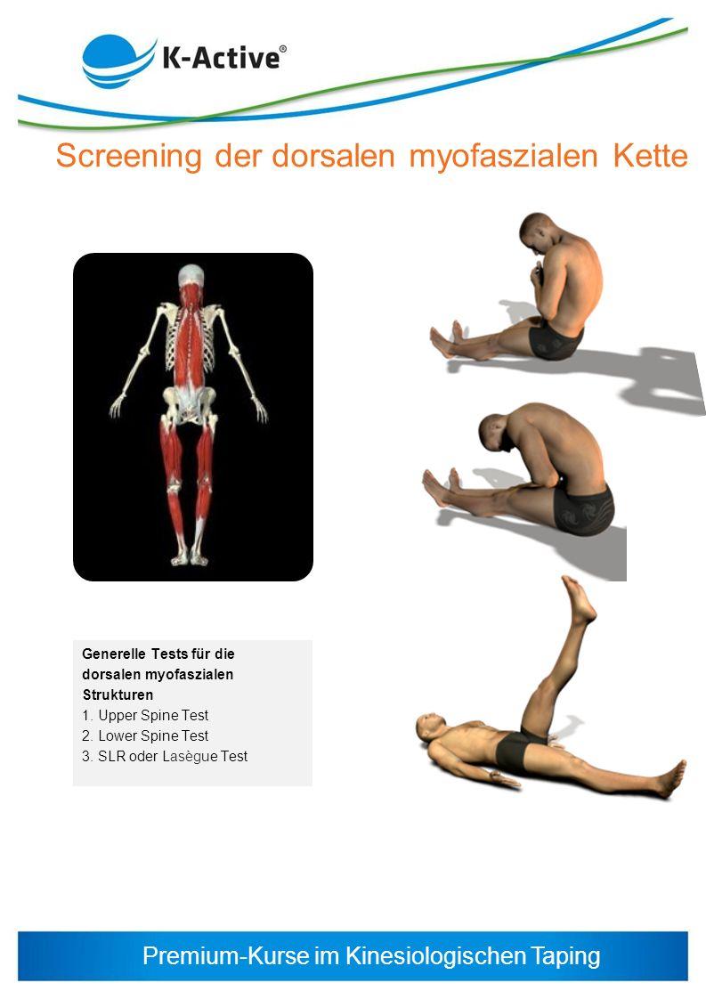 Premium-Kurse im Kinesiologischen Taping Generelle Tests für die dorsalen myofaszialen Strukturen 1. Upper Spine Test 2. Lower Spine Test 3. SLR oder