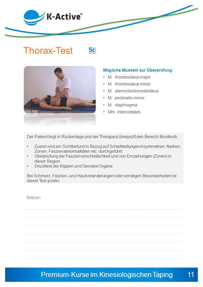 Premium-Kurse im Kinesiologischen Taping Mögliche Muskeln zur Überprüfung: M. rhomboideus major M. rhomboideus minor M. sternocleidomastoideus M. pect