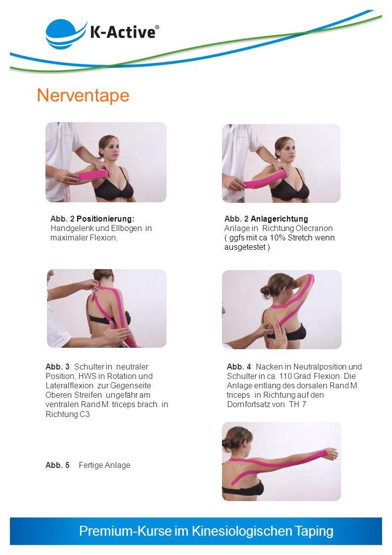 Premium-Kurse im Kinesiologischen Taping Nerventape Abb. 2 Positionierung: Handgelenk und Ellbogen in maximaler Flexion, Abb. 3: Schulter in neutraler
